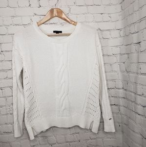Tommy Hilfiger White Cable Knit Sweater Preppy Y2K